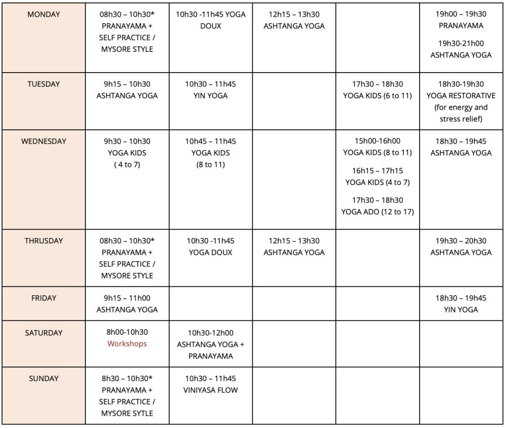 Calm Yoga Cannes class schedule.