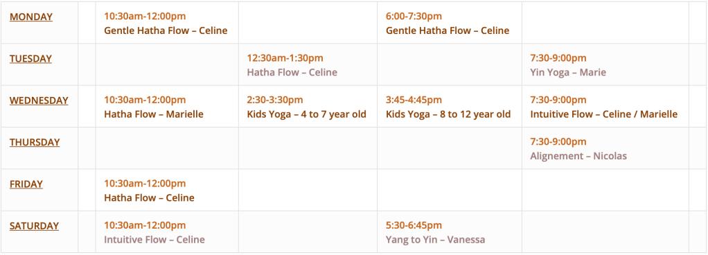 Art Yoga Nice Schedule